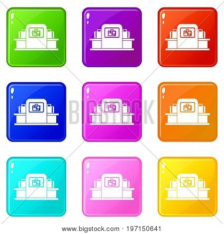 Airport baggage security scanner icons of 9 color set isolated vector illustration