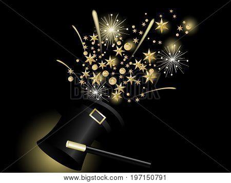 Golden Christmas stars in black magic hat