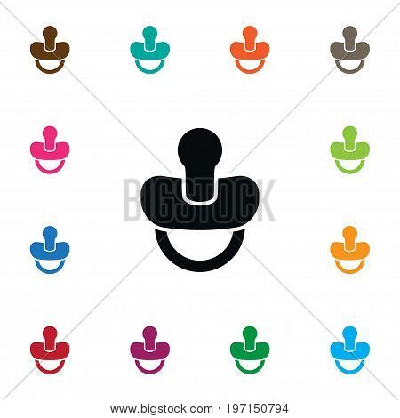 Soother Vector Element Can Be Used For Soother, Teat, Nipple Design Concept.  Isolated Teat Icon.
