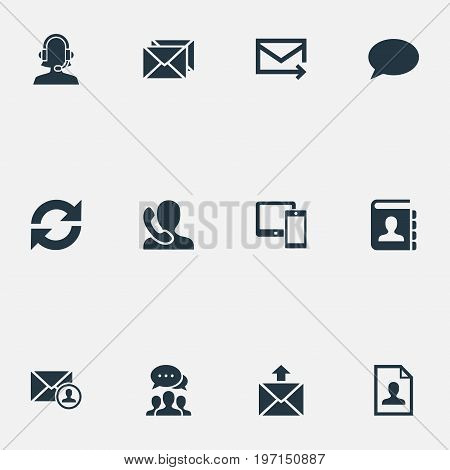 Elements Epistle Author, Contacts, Speaking Human And Other Synonyms Update, Opinion And Speaking.  Vector Illustration Set Of Simple Contact Icons.