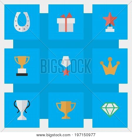 Elements Present, Premium, Gemstone And Other Synonyms Gift, Present And Trophy.  Vector Illustration Set Of Simple Trophy Icons.