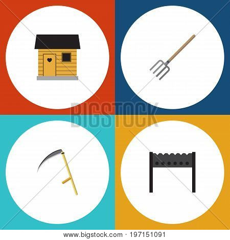 Flat Icon Garden Set Of Cutter, Hay Fork, Stabling And Other Vector Objects