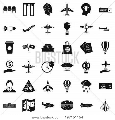 Terminal icons set. Simple style of 36 terminal vector icons for web isolated on white background
