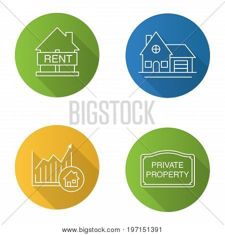 Real estate market flat linear long shadow icons set. House for rent, cottage, private property sign, market growth chart. Vector outline illustration