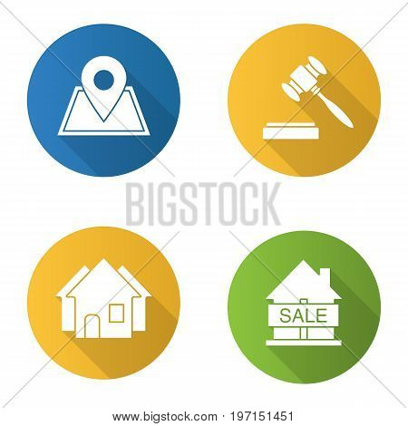 Real estate flat design long shadow glyph icons set. Building location, house for sale, gavel, three houses. Vector silhouette illustration