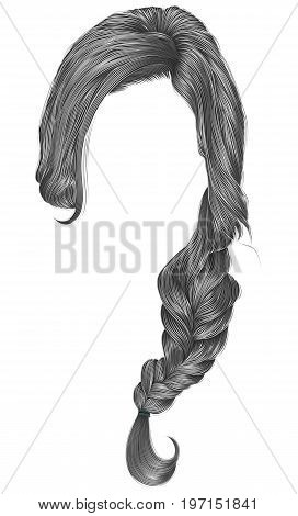 trendy women hairs gray colour . plait . fashion beauty style .