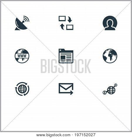 Elements Internet, Sputnik Signal, Member And Other Synonyms Earth, Globe And Contact.  Vector Illustration Set Of Simple Internet Icons.