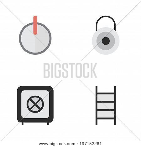 Elements Vault, Stairs, Safe And Other Synonyms Climbing, Ladder And Password.  Vector Illustration Set Of Simple Offense Icons.
