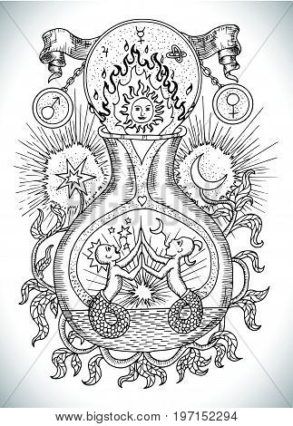 Black and white drawing with mystic, spiritual and alchemical symbols, zodiac sign Gemini concept with moon, sun and stars. Occult and esoteric vector illustration, tattoo or gothic engraved background