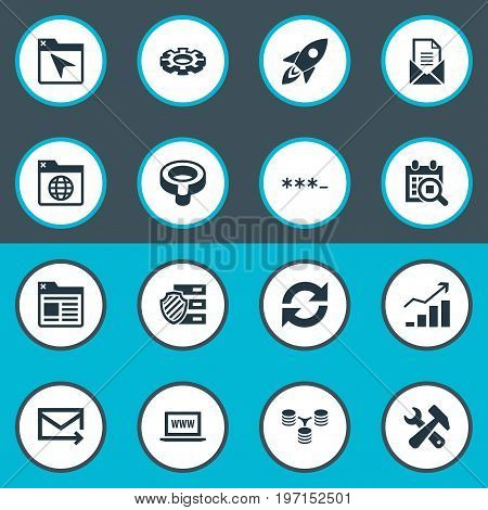 Elements Database Distribution, Search, Clipboard And Other Synonyms Mail, Bind And Password.  Vector Illustration Set Of Simple Review Icons.