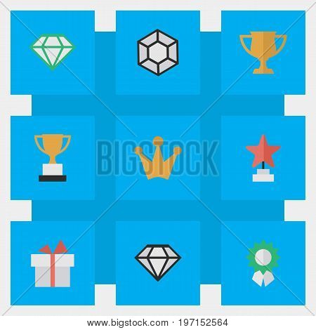 Elements Reward, Star, Corona And Other Synonyms Reward, Cub And Award.  Vector Illustration Set Of Simple Awards Icons.