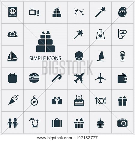 Elements Ale Mug, Calendar, Aircraft And Other Synonyms Decoration, Entertaiment And Airplane.  Vector Illustration Set Of Simple  Icons.