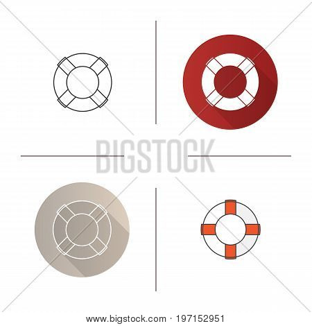 Life ring icon. Flat design, linear and color styles. Life buoy. Isolated vector illustrations