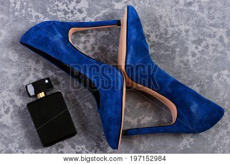 High Heel Footwear On Grey Suede Background