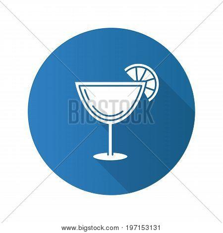 Margarita cocktail flat design long shadow glyph icon. Martini drink. Vector silhouette illustration