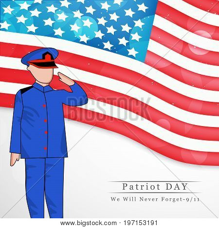 illustration of soldier saluting and USA flag background with Patriot Day we will never forget text on the occasion of Patriot Day