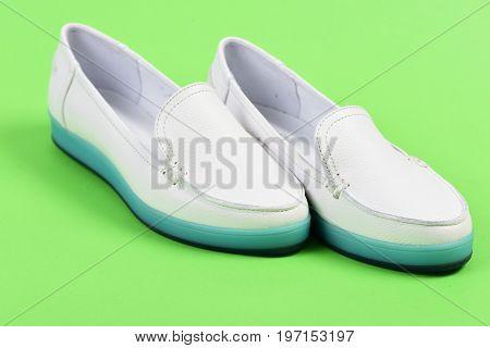 Moccasins For Women In White Color. Low Heel Footwear