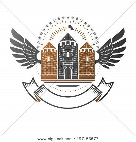 Ancient Citadel emblem. Heraldic vector design element. Retro style label heraldry logo. Antique logotype on isolated white background.