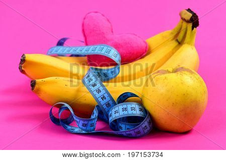 Tape For Measuring In Blue Color, Heart And Ripe Fruit