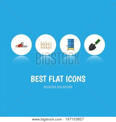 Flat Icon Farm Set Of Trowel, Hacksaw, Container And Other Vector Objects
