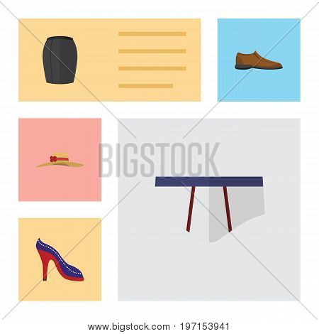 Flat Icon Clothes Set Of Underclothes, Elegant Headgear, Heeled Shoe And Other Vector Objects
