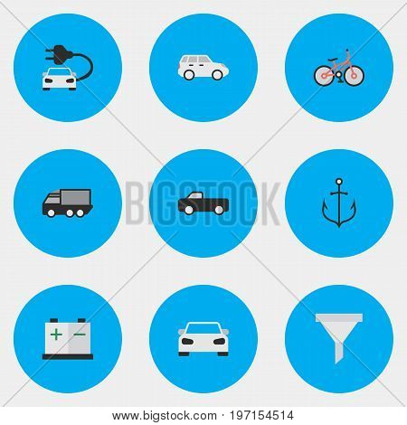 Elements Recycle, Truck, Lorry And Other Synonyms Automobile, Lorry And Auto.  Vector Illustration Set Of Simple Transportation Icons.