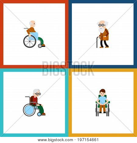 Flat Icon Handicapped Set Of Wheelchair, Disabled Person, Ancestor And Other Vector Objects