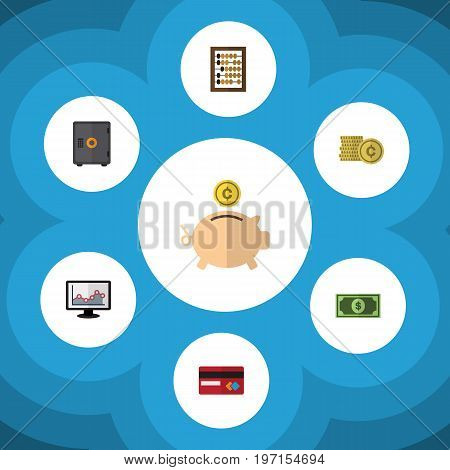Flat Icon Gain Set Of Counter, Payment, Greenback And Other Vector Objects
