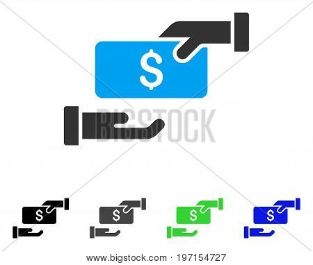 Bribe flat vector illustration. Colored bribe gray black blue green icon variants. Flat icon style for web design.