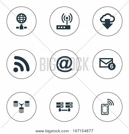 Elements Mobile Contact, Inbox, Router And Other Synonyms Mobile, Spreading And Sharing.  Vector Illustration Set Of Simple Web Icons.