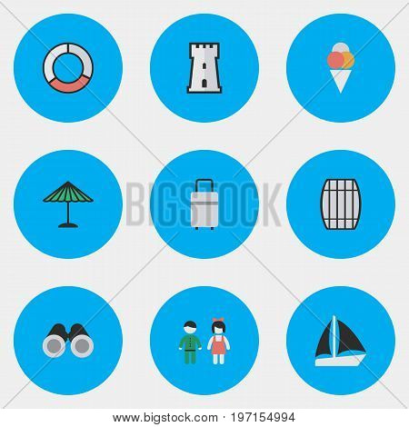 Elements Schooner, Sorbet, Optical Zoom And Other Synonyms Vision, Ice And Parasol.  Vector Illustration Set Of Simple Holiday Icons.
