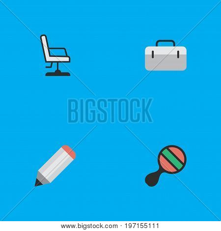 Elements Racket, Briefcase, Pen And Other Synonyms Seat, Suitcase And Pong.  Vector Illustration Set Of Simple Education Icons.