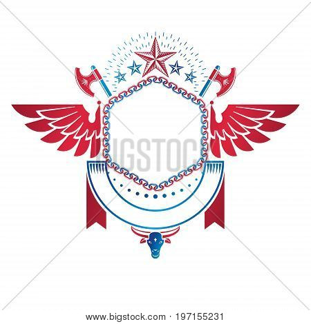 Graphic winged emblem created with blank copy space and different elements like star hatchets and ribbon. Heraldic Coat of Arms decorative logo isolated vector illustration.