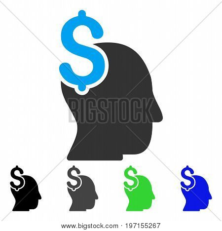 Commercial Intellect flat vector pictogram. Colored commercial intellect gray, black, blue, green icon variants. Flat icon style for graphic design.