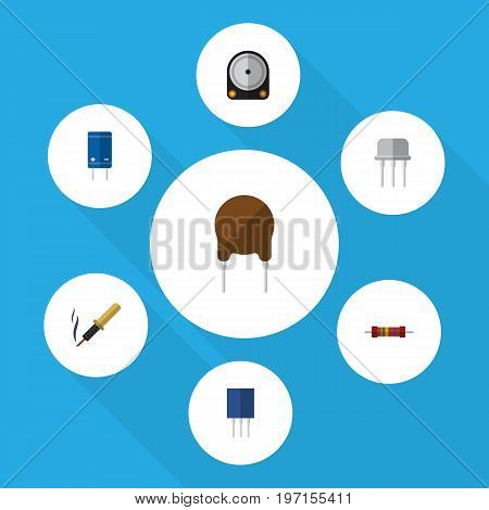 Flat Icon Electronics Set Of Receptacle, Hdd, Triode And Other Vector Objects