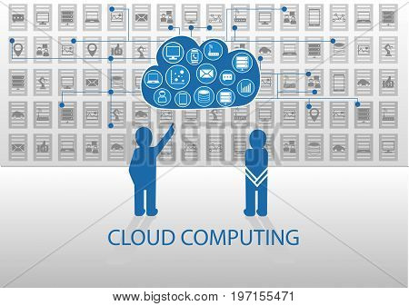 Vector illustration of icon persons in front of cloud computing