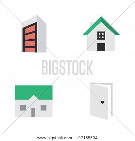 Elements Home, Entry, Construction And Other Synonyms House, Home And Building.  Vector Illustration Set Of Simple Property Icons.