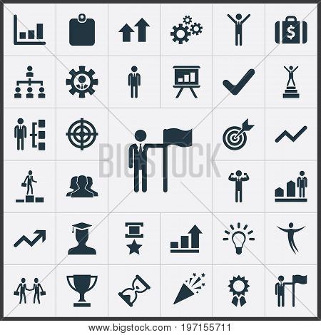 Elements Success, First Place, Development And Other Synonyms Group, Freeman And Place.  Vector Illustration Set Of Simple Trophy Icons.
