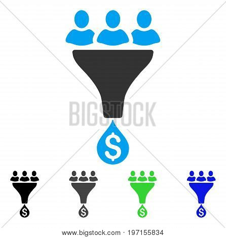 Sales Funnel flat vector icon. Colored sales funnel gray, black, blue, green icon versions. Flat icon style for application design.