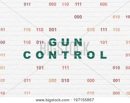Privacy concept: Painted green text Gun Control on White Brick wall background with Binary Code