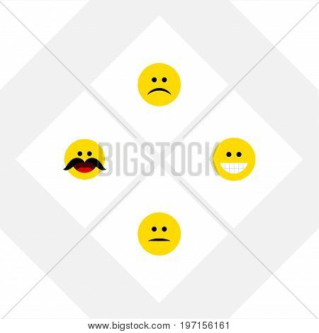 Flat Icon Face Set Of Cheerful, Grin, Displeased And Other Vector Objects
