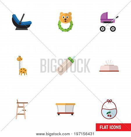 Flat Icon Baby Set Of Child Chair, Pinafore, Playground And Other Vector Objects