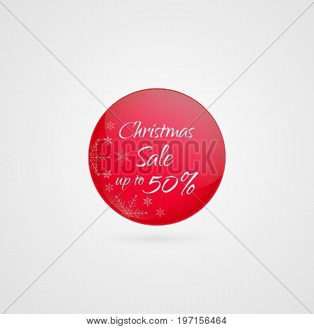 Christmas sale vector with snowflakes. 50 percent off circle icon. Isolated discount symbol. Illustration sign for sale xmas advertisement marketing retail wholesale shopping store shop label