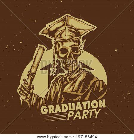T-shirt or poster design with illustraion of graduation of skeleton