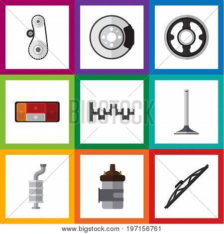 Flat Icon Auto Set Of Steels Shafts, Windshield, Headlight And Other Vector Objects