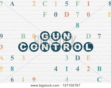 Safety concept: Painted blue text Gun Control on White Brick wall background with Hexadecimal Code