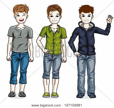 Different young teen boys cute children standing in stylish casual clothes. Vector set of beautiful kids illustrations.