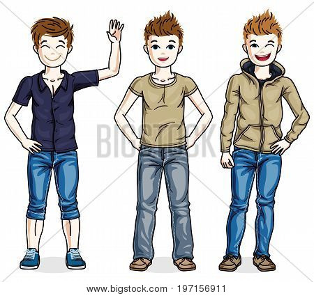 Different young teen boys cute children standing wearing fashionable casual clothes. Vector set of beautiful kids illustrations.