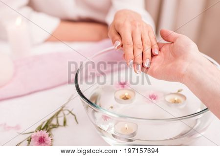 Cropped Shot Of Woman Receiving Spa Treatment For Hands In Glass Bowl With Rose Petals