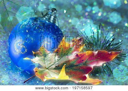 Beautiful yellow red green autumn maple leaf near a New Year ball in snow with a nice blurred bokeh and soft blue background.